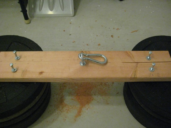 close up of one of the supports (resting on bumper plates)